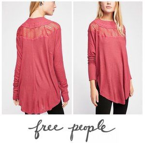 Free People Spring Valley Top Thermal Knit Lace